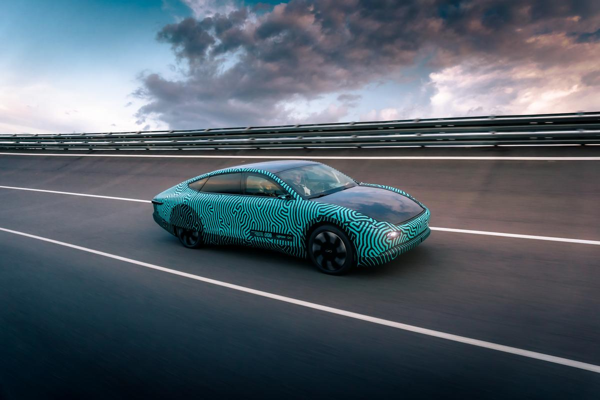The Lightyear One validation prototype was recently driven 710 km around a test track on a single charge of its 60-kWh battery (plus a contribution of 3.45 kWh from solar panels on the roof and hood)