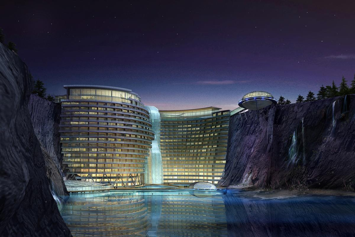 Construction is already underway on the Shimao Intercontinental Hotel in the Songjiang District of Shanghai - a five-star, 19-story, 380-room, luxury hotel built into an abandoned, part-flooded quarry (Image: Atkins)