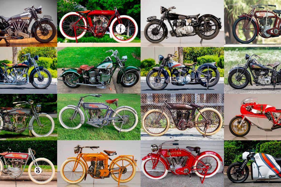 A selection of notable motorbikes up for auction at Monterey Car Week