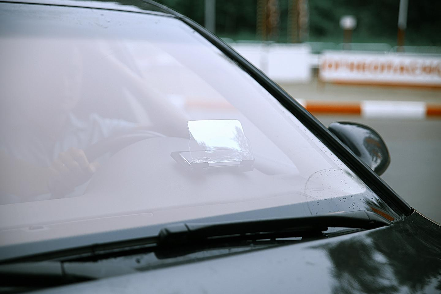 How the Hudway Glass looks from outside the car