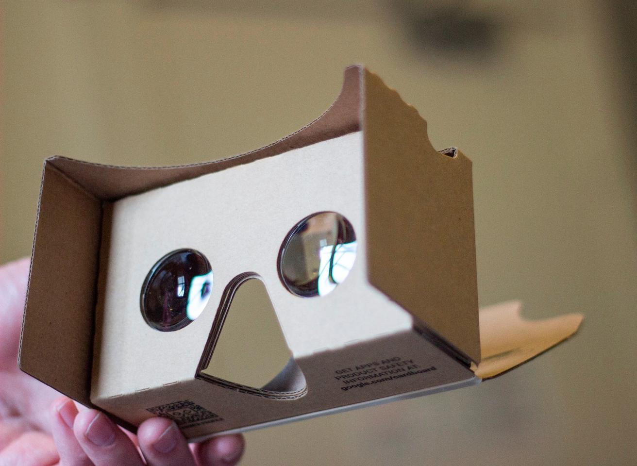 A put-together Google Cardboard 2 kit