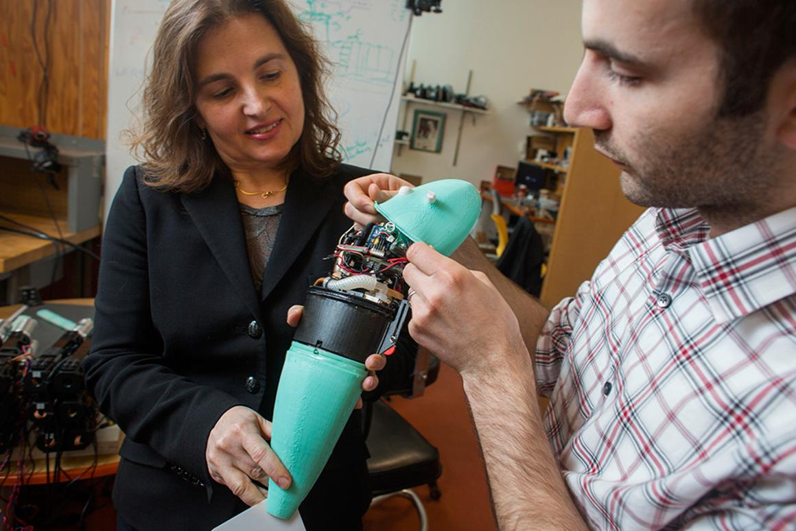 MIT's Daniela Rus and Andrew Marchese with their sharp-turning robotic fish