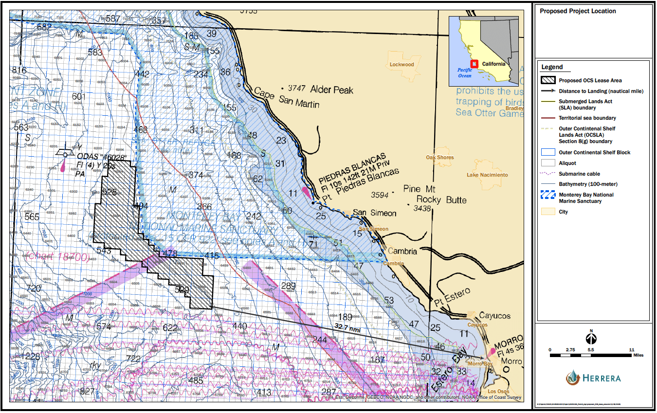 Map of the California coastline and location of the Trident Winds offshore wind farm in gray