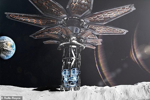 Artist's concept of a lunar nucelar reactor
