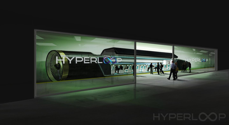 An artist's rendition of a Hyperloop passenger car