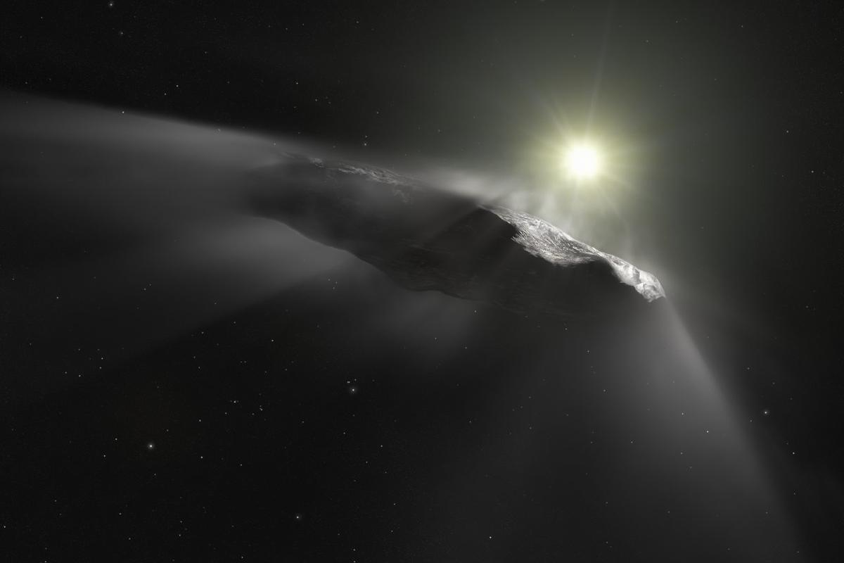 A new artist's impression of the interstellar object 'Oumuamua, which is now believed to be a very mildly-active comet