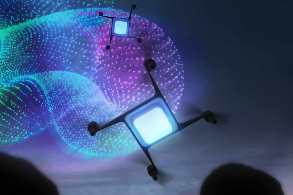 The system-specific quadcopters will feature a multi-color LED panel on their underside