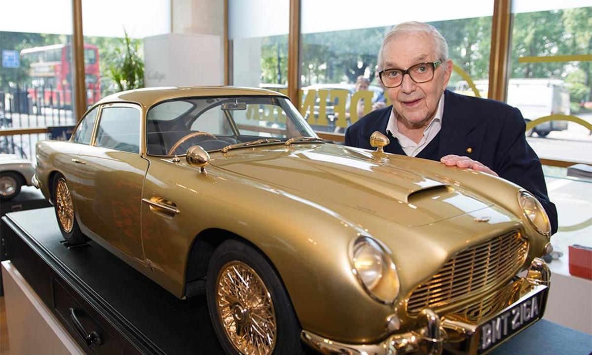 "Sir Ken Adam, designer of the ""Q Branch"" DB5, and the scale replica (Image: Aston Martin)"
