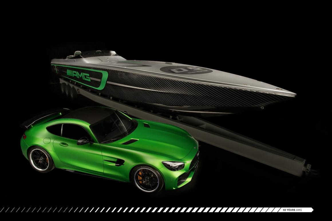The AMG GT R alongside the boat it inspired