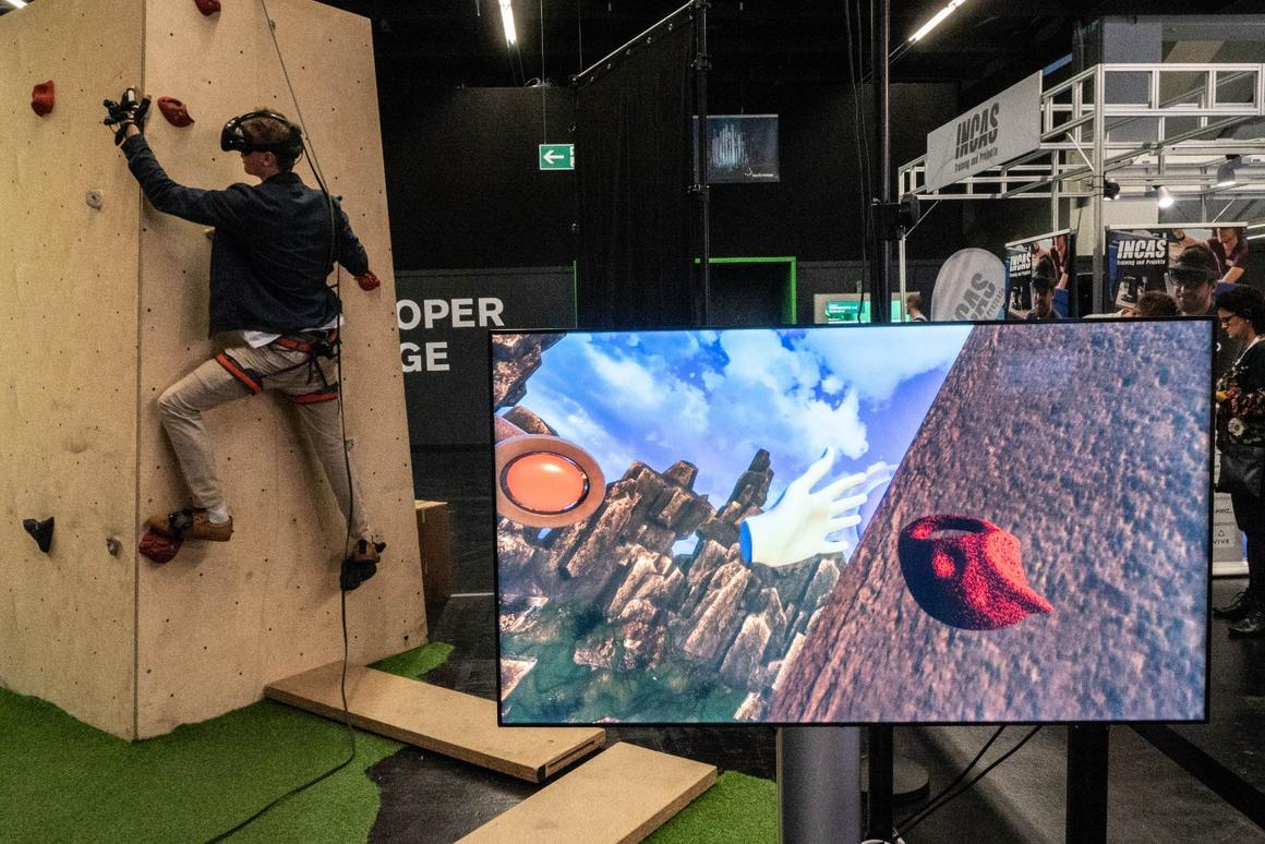 Though you're only a foot off the ground, this VR system can put you as high up as you dare