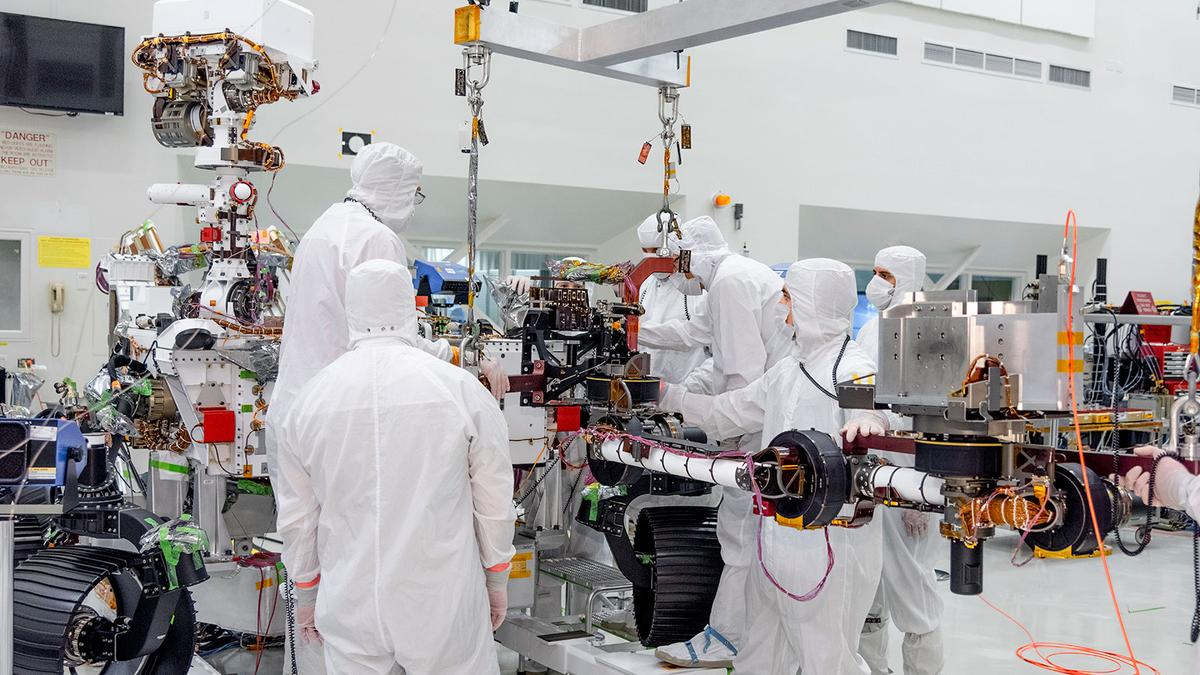 The Mars 2020 rover getting its robotic arm at JPL