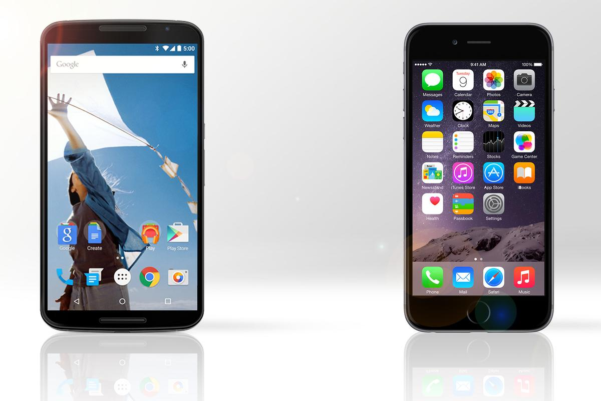 Gizmag compares the features and specs of the Google/Motorola Nexus 6 (left) and Apple iPhone 6 Plus