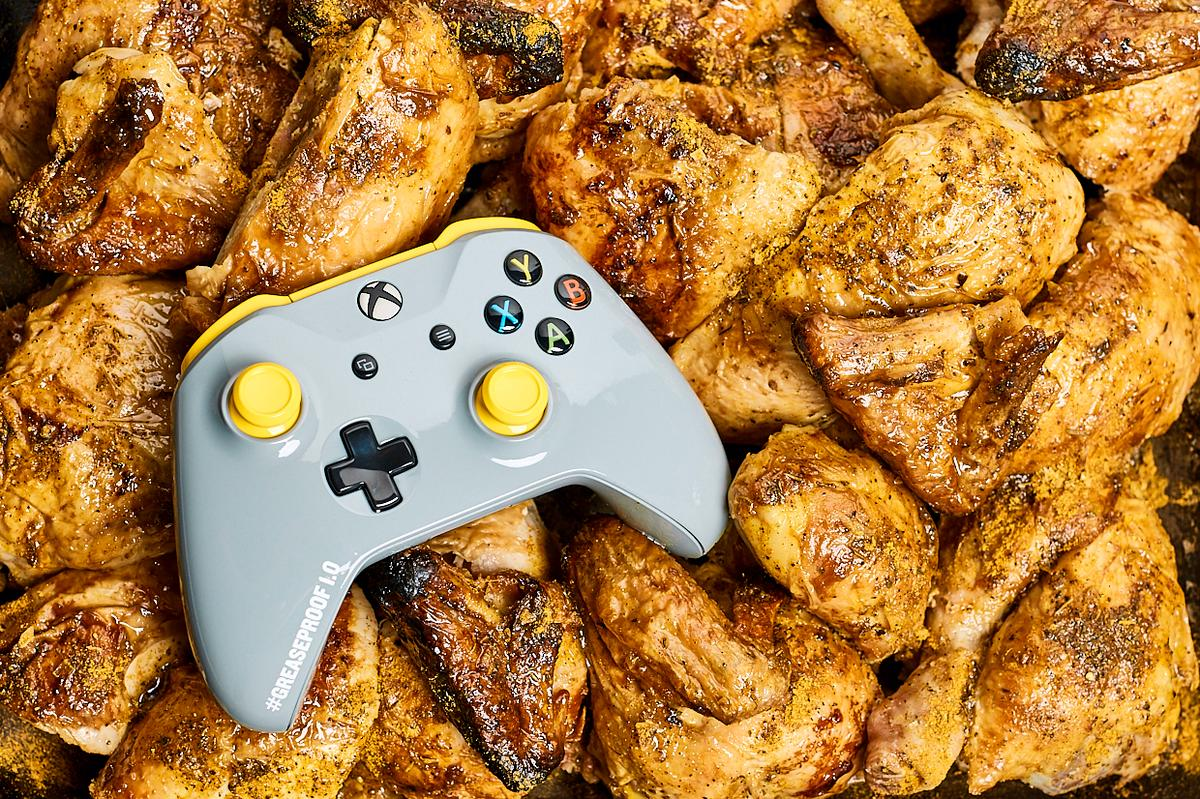 The PUBGGreaseproofXbox wirelesscontroller has been hand sprayed in a coating that repels grease