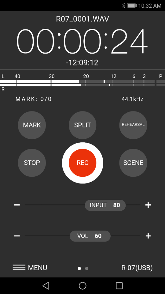 Screenshot of the Android app interface that can be used to wirelessly control the Roland R-07 audio recorder