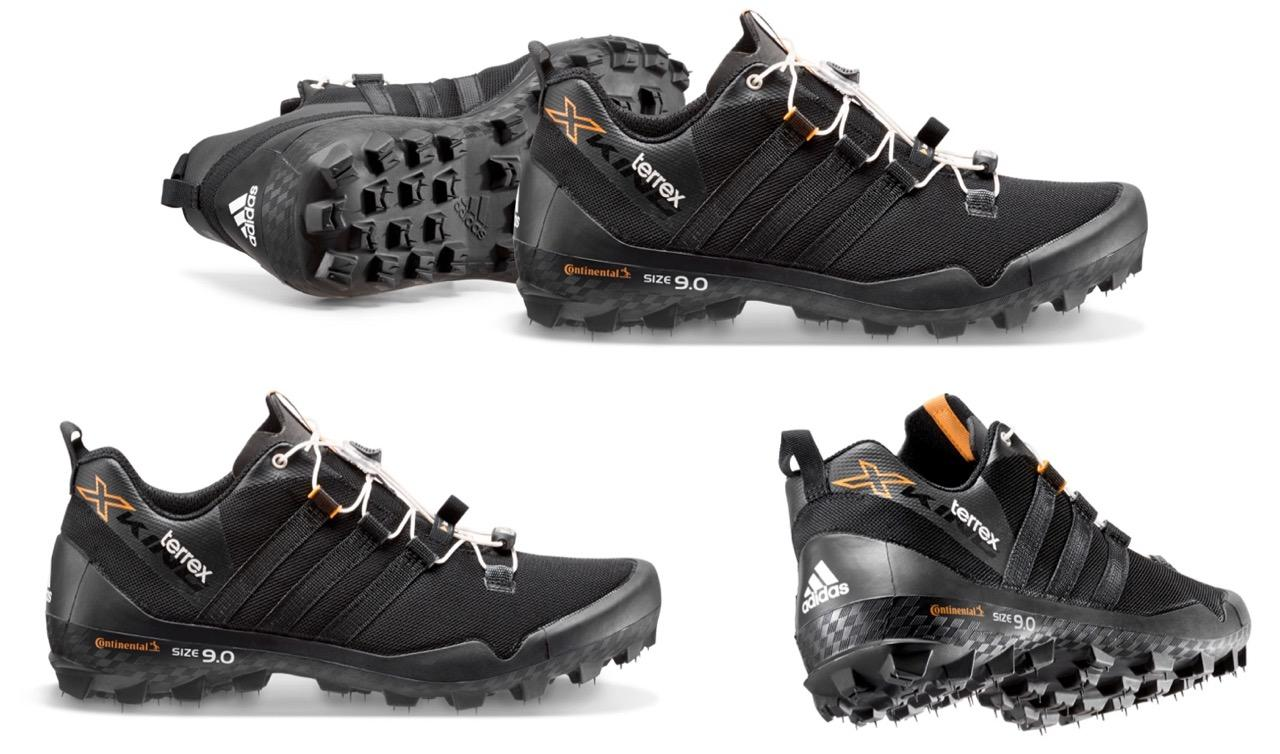 "Adidas' Terrex X-King trail-running shoes, complete with ""new tire"" whiskers on the treads"