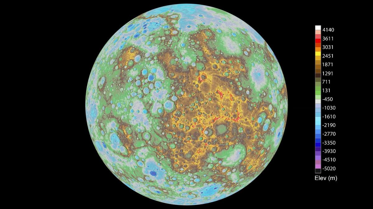 Still from the newly-relseased topographical map of Mercury