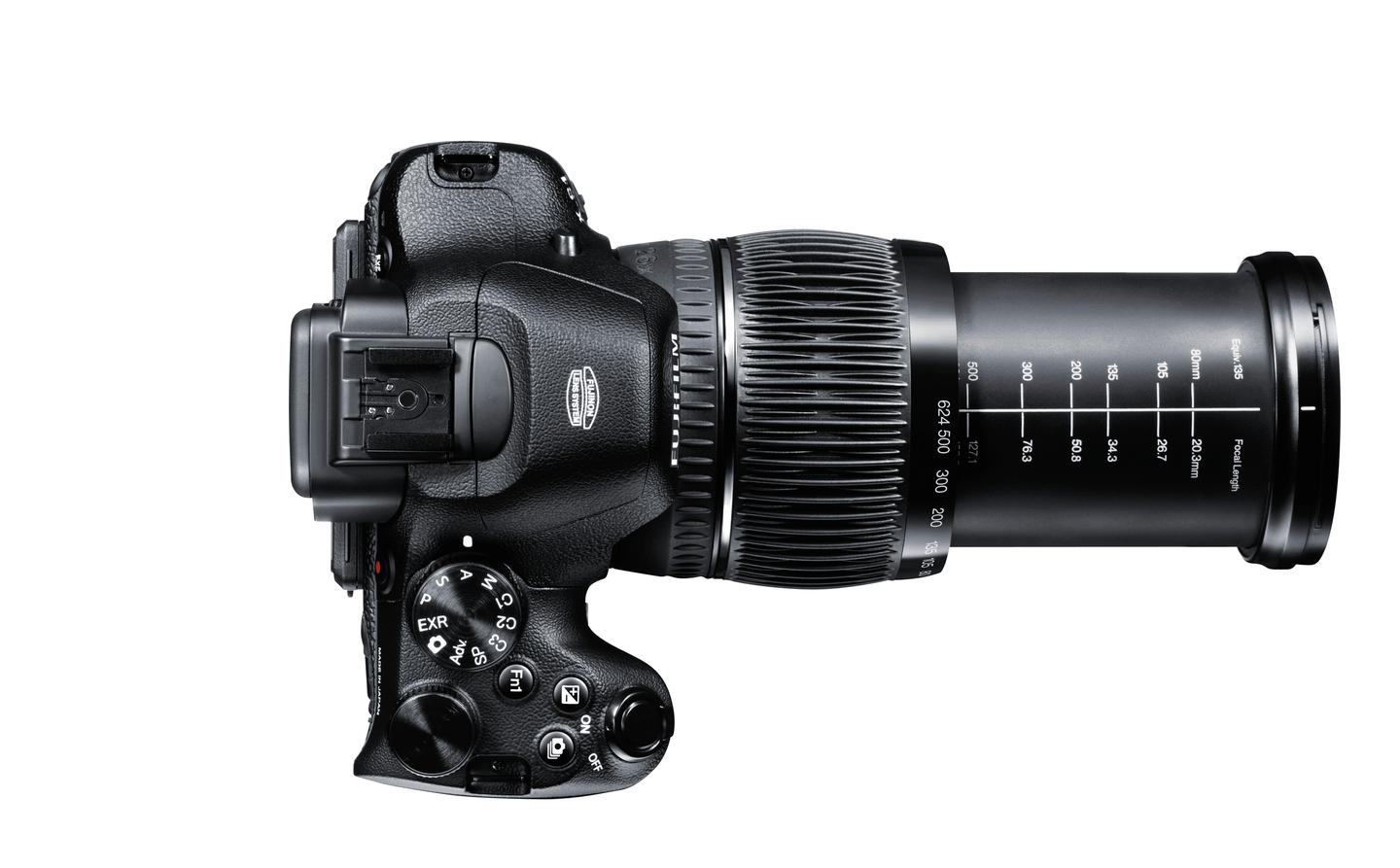 Top view of the new X-S1 superzoom - featuring PASM exposure control, hot shoe mount and a 26x optical zoom lens