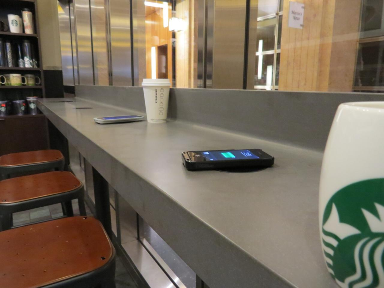 A nationwide rollout will see every Starbucks store in the US fitted with wireless charging mats