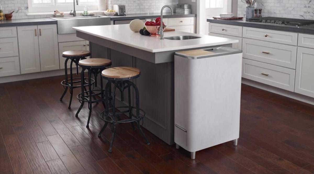 The Zera Food Recycler (at end of kitchen island) composts kitchen waste