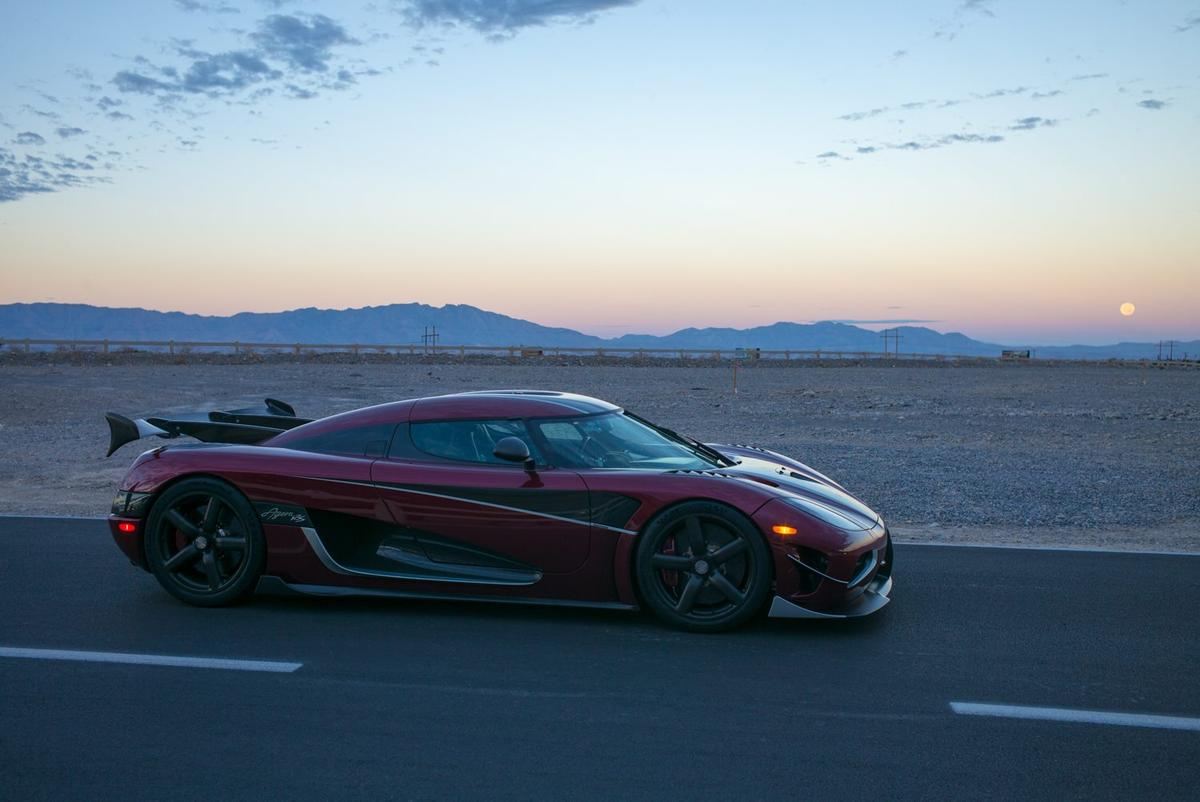 Koenigsegg's record-settingAgera RS on the road in Nevada