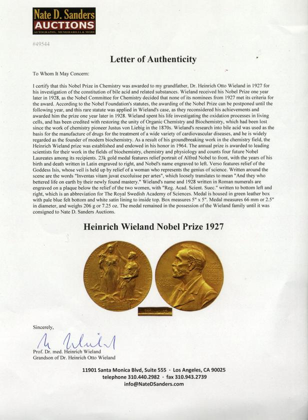 Letter of authenticity for the Wieland Nobel medal