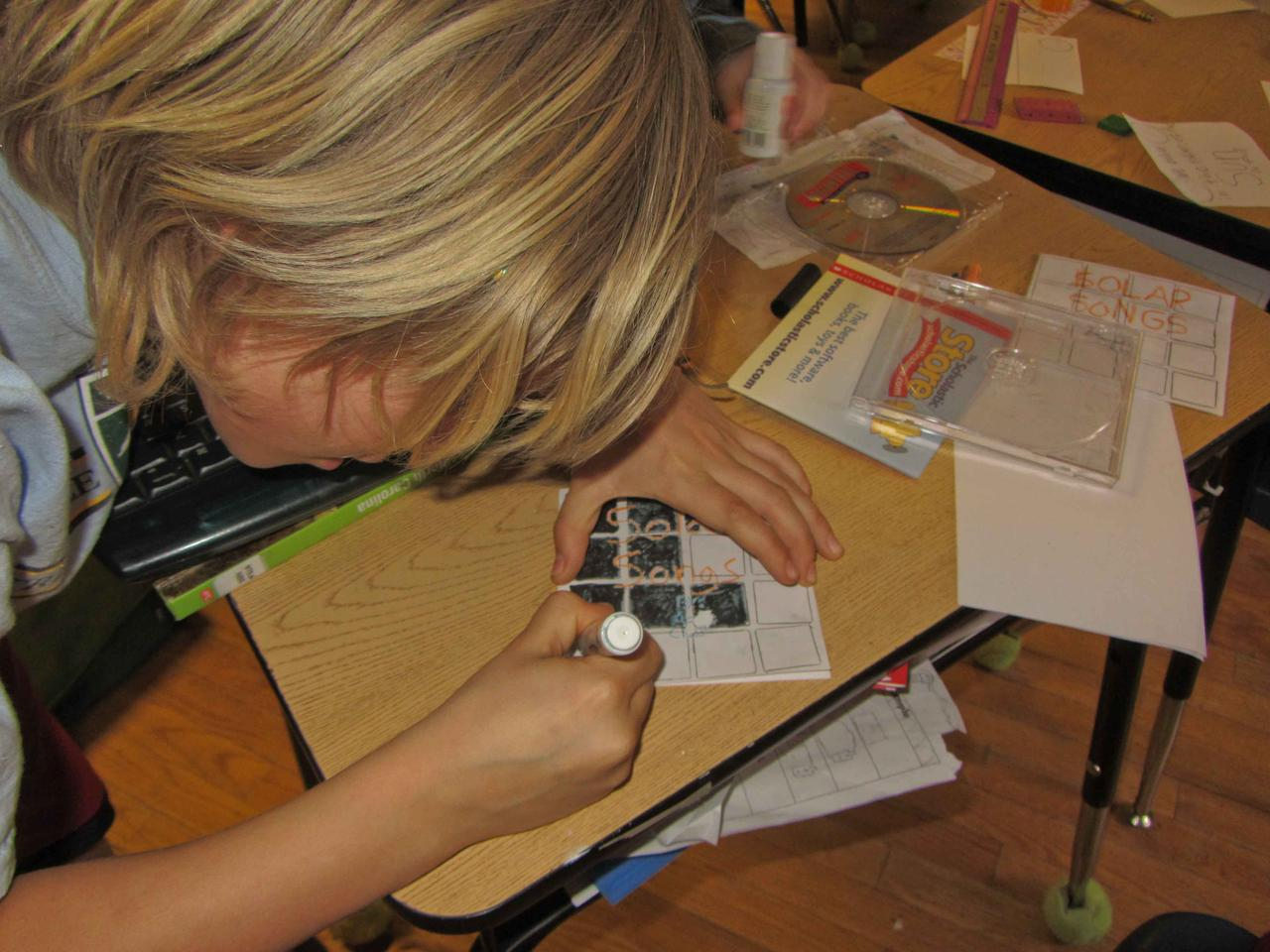 A student works on the Kickstarter project