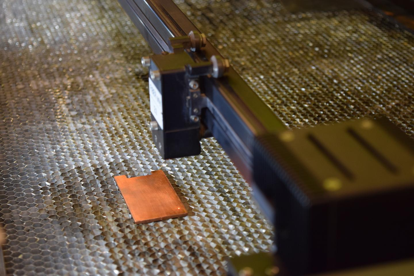 A laser is used to treat a copper sample