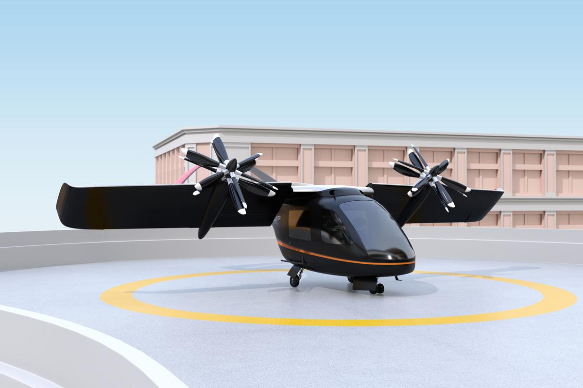 An artist's impression of an eVTOL aircraft preparing for takeoff