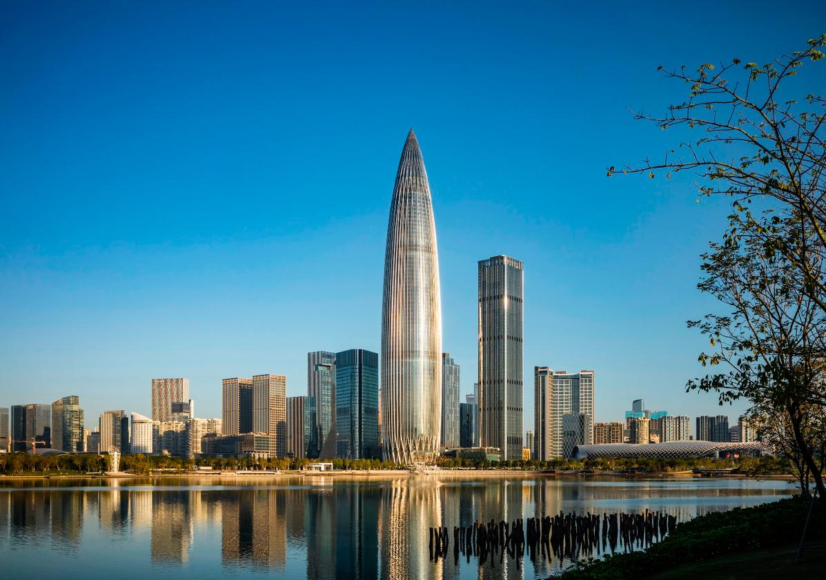 TheChina Resources Headquarters is located in Shenzhen, China, and rises to a height of 400 m (1,312 ft)
