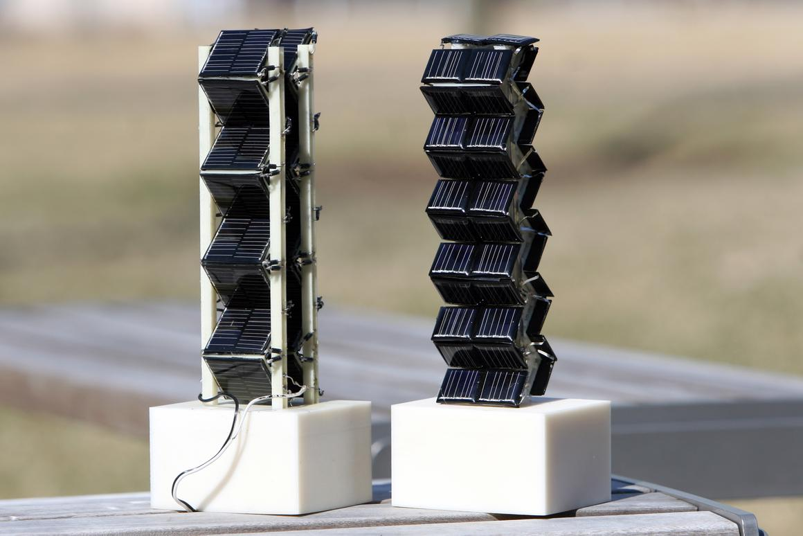 Two small-scale versions of three-dimensional photovoltaic arrays that were tested by MIT researchers (Photo: Allegra Boverman)