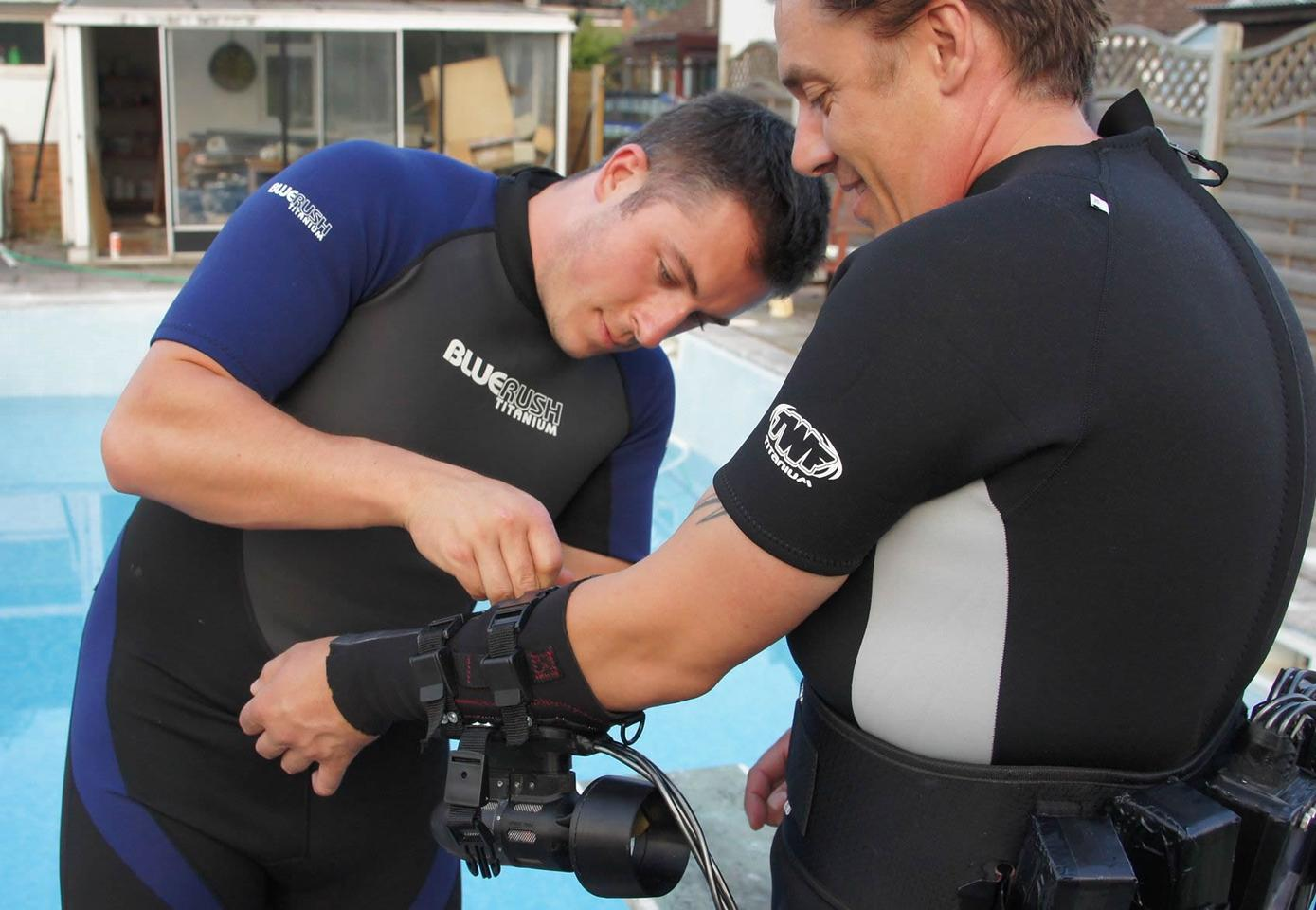 Fitting the Underwater Jet Pack prototype