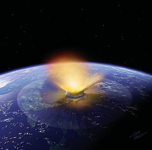 An artist's impression of a gigantic asteroid impact, like the one that killed the dinosaurs