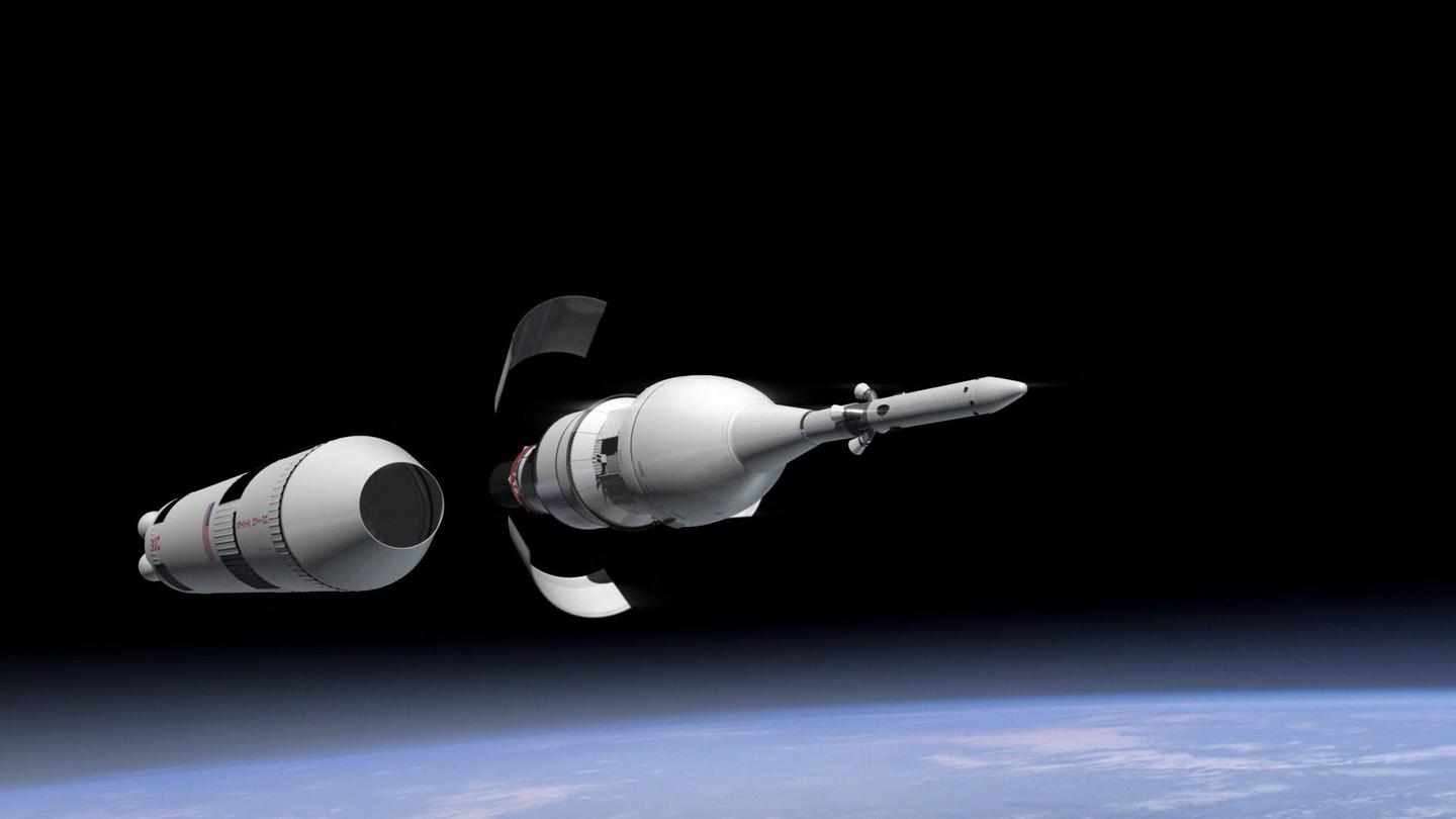 Artist's impression of Orion's service module fairing separation in low-Earth orbit (image: NASA)