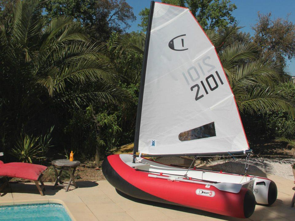 The DinghyGo 2 is an inflatable sailboat that also works as a rowboat and motorboat