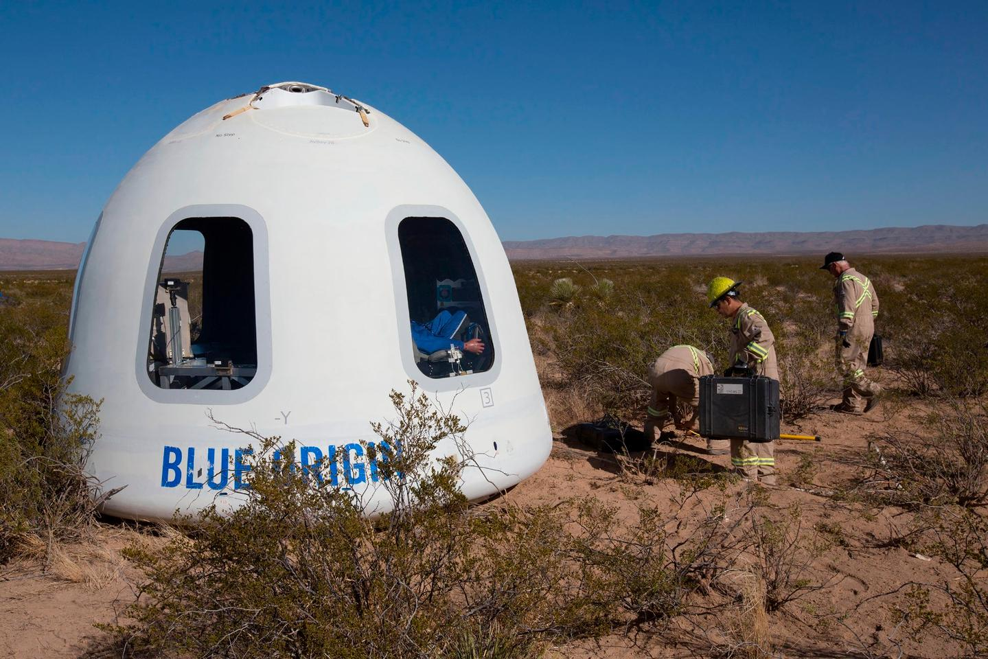 Blue Origin Crew Capsule with flight mannequin inside after recent test flight