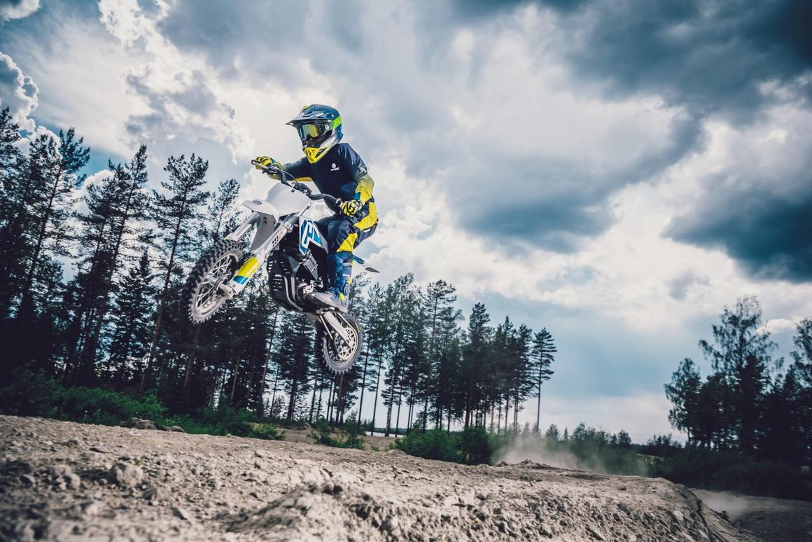 Kid's getting better air than I do, on the 2020 Husqvarna EE5 electric minibike