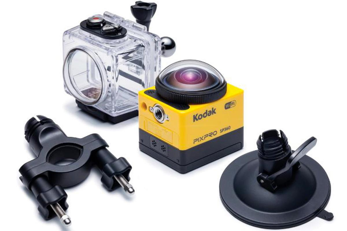 The Kodak PixPro SP360, with some of its optional extras
