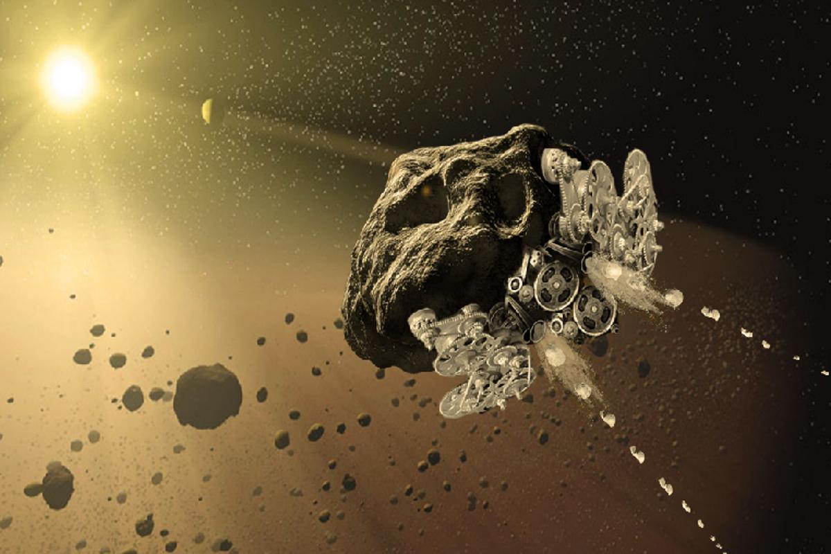 Artist's impression of the RAMA mission, which would seek to transform wandering asteroids into functioning spacecraft