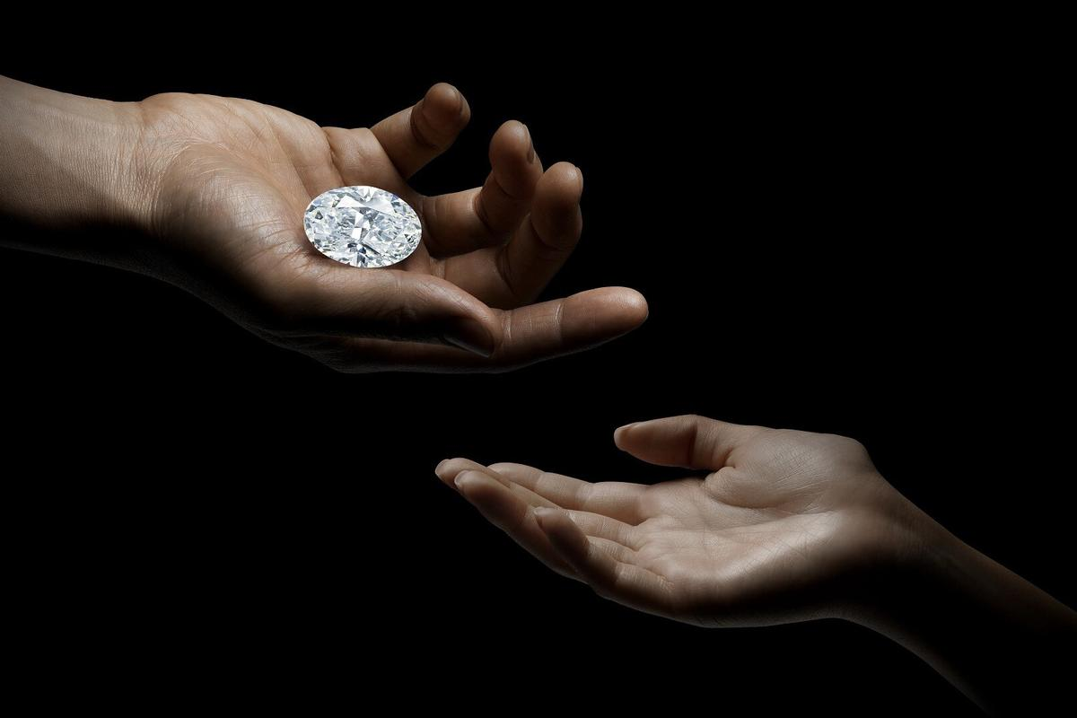 One of nature's masterpieces, this 102.39-carat D color flawless diamond was cut from a 271 carat rough, and is just the eighth D-color flawless white diamond to sell at auction in three decades. It sold for HKD121,562,000 ($15,685,621) at Sotheby's on October 5, 2020. The world record price for a flawless d-color diamonds is the $33.7 million fetched by a 163.41-carat diamond sold in Geneva in 2017.
