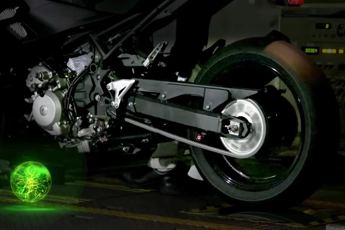 Kawasaki has released video of a prototype hybrid motorcycle accelerating through electric, hybrid and combustion modes on a dyno