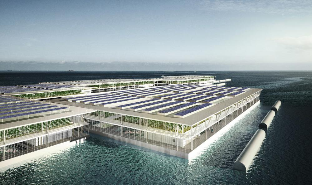 Each Smart Floating Farm would be a triple-decker barge, featuring a fish farm, hydroponic garden and rooftop solar panels