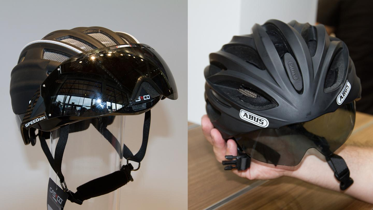 Casco's SPEEDmask mechanism (left) and the slider mechanism from ABUS (right)