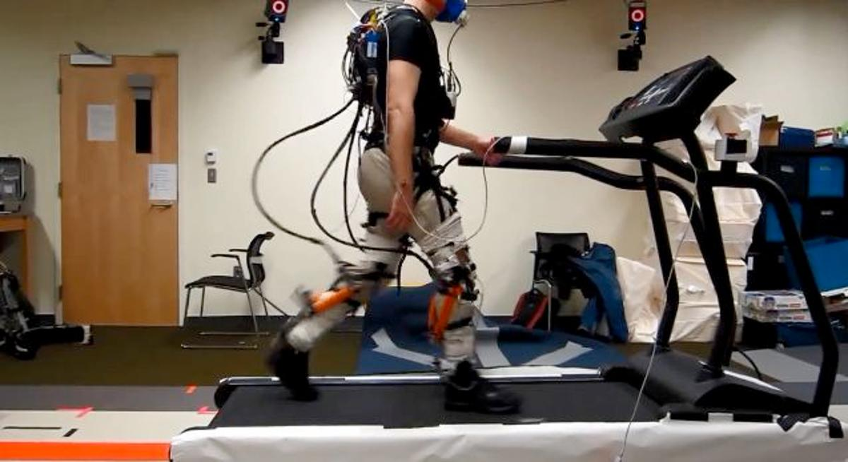 The prototype soft exosuit in action