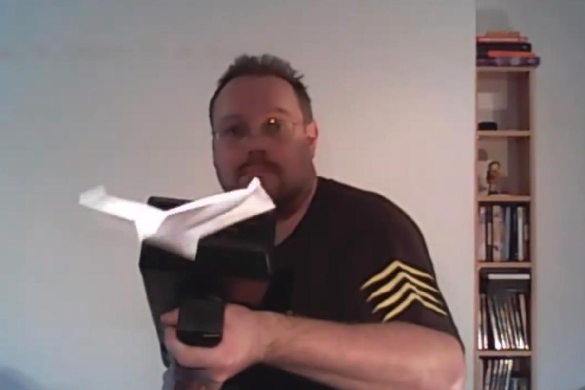The Paper Airplane Machine Gun, providing covering fire