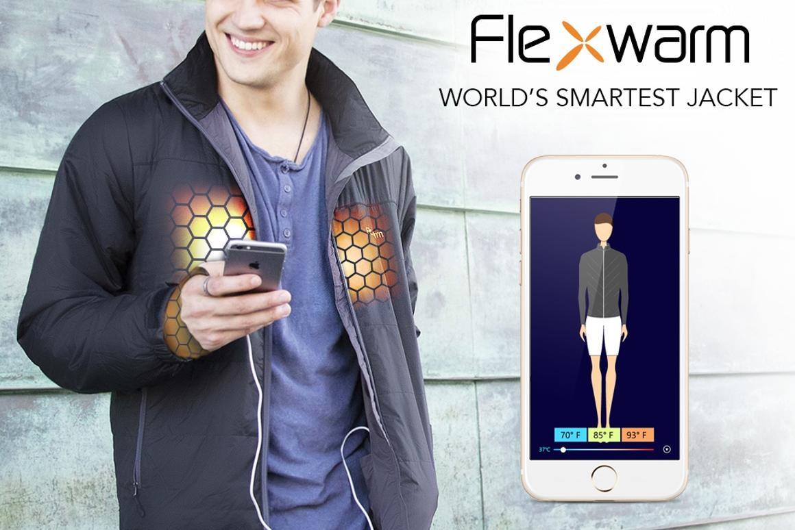 The Flexwarm smart jacket is designed with dual sensors that automatically adapt the heat to desired levels, no matter the outside environment