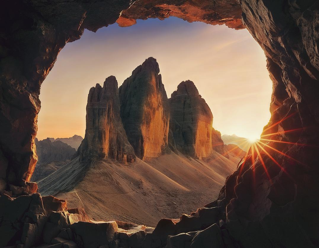 """Winner, Bulgaria. """"Sunset"""". The photo was taken in one of the excavated tunnels and galleries during the First World War. Most of them can be seen on Via Ferrata De Luca-Innerkofler"""