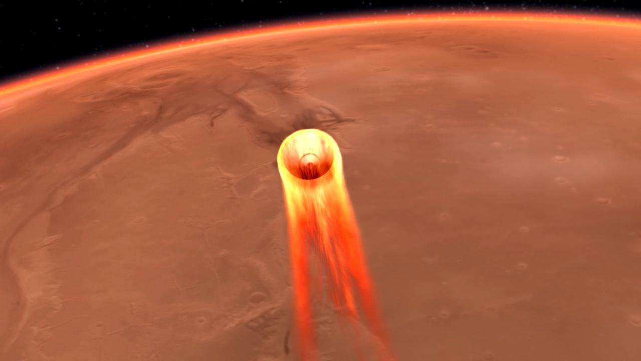 Artist's impression of InSight entering the Martian atmosphere