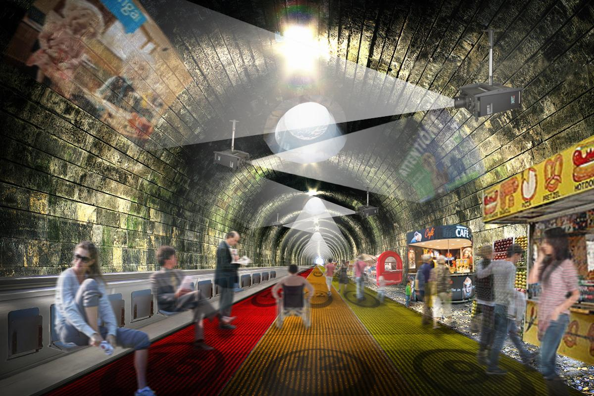 NBBJ's walkways would offer an alternative to being stuck on a crowded tube train each morning