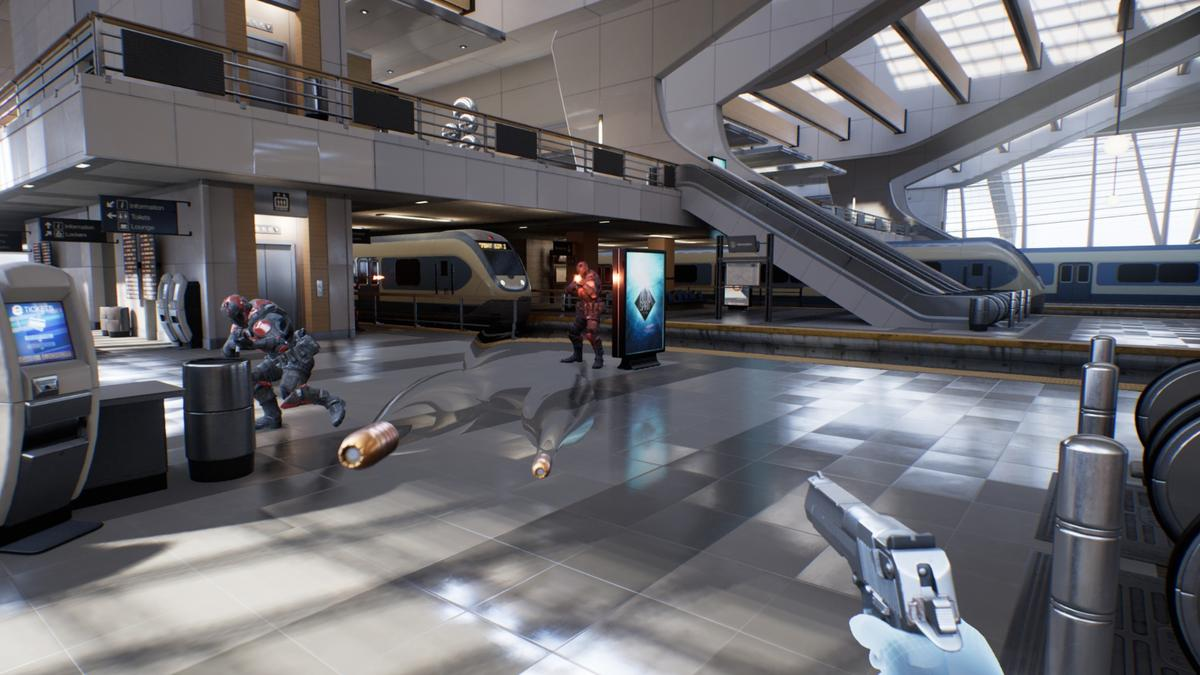 Slowing down time and teleporting around a train station in Epic's Bullet Train