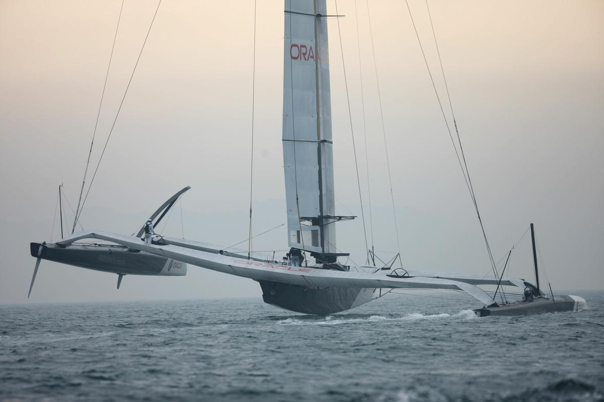 BMW Oracle Racing's BOR 90, complete with wing sail.